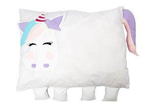 Travesseiro Infantil Unicórnio Branco - Colo de Mãe