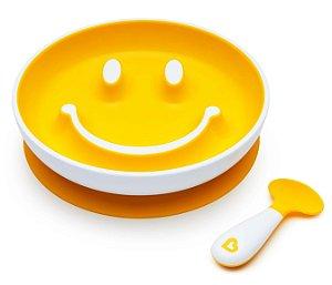 Prato Sorriso Smile com Ventosa + Colher Amarelo - Munchkin