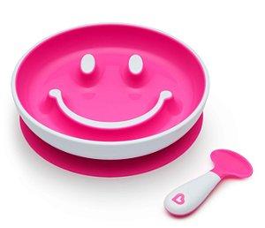Prato Sorriso Smile com Ventosa + Colher Rosa - Munchkin
