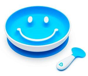 Prato de Treinamento com Ventosa e Colher Sorriso Azul - Munchkin