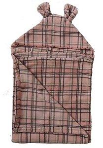 Cobertor Infantil com Capuz Rosa Xadrez - Colo de Mãe