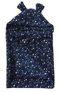 Cobertor Infantil com Capuz Azul Estrelado - Colo de Mãe