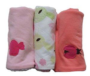 Pano de Boca para Bebê (3 unidades) Passarinho Rosa - Colo de Mãe