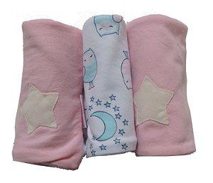 Pano de Boca para Bebê (3 unidades) Corujinhas Soninho - Colo de Mãe