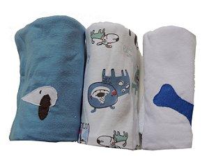 Pano de Boca para Bebê (3 unidades) Cachorrinhos - Colo de Mãe