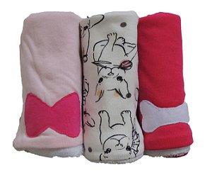 Pano de Boca para Bebê (3 unidades) Pug Rosa - Colo de Mãe