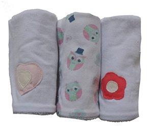 Pano de Boca para Bebê (3 unidades) Corujinha - Colo de Mãe