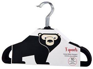 Kit de Cabides Infantis de Veludo (10 unidades) Preto - 3 Sprouts