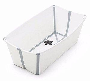 Banheira Dobrável Flexi Bath com Plug de Temperatura Branca com Cinza - Stokke