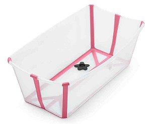 Banheira Dobrável Flexi Bath com Plug de Temperatura Transparente Rosa - Stokke