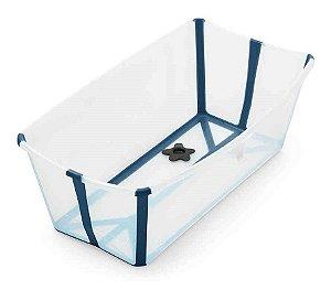 Banheira Dobrável Flexi Bath com Plug de Temperatura Transparente Azul - Stokke