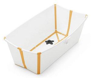 Banheira Dobrável Flexi Bath com Plug de Temperatura Branca com Amarelo - Stokke