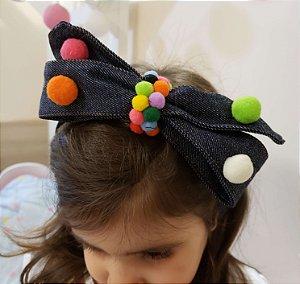 Tiara Infantil com Laço e Pompom Colorido - Mamaeqfez