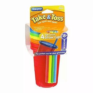 Kit com 04 Copos com Tampa e Canudo Coloridos Take & Toss - Girotondo Baby