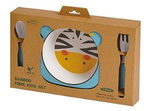 Kit Alimentação ECO Fibra de Bambu (03 Peças) Zebra - Girotondo Baby