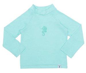 Camiseta Infantil de Banho com FPS 50+ Manga Longa Verde Água - Ecoeplay