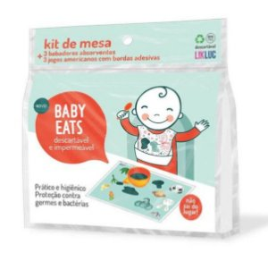 Kit Jogo Americano Adesivo e Babador Descartáveis Baby Eats (06 unidades) - Likluc