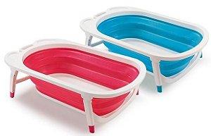 Banheira de Bebê Dobrável Flexi Bath Azul/Rosa - Multikids
