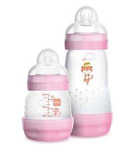 Kit Mamadeira MAM First Bottle Anti-Cólica e Auto-Esterilizáveis 130ml + 260ml Menina