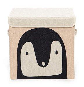 Caixa Organizadora Infantil Linha Animals com Tampa - Pinguim