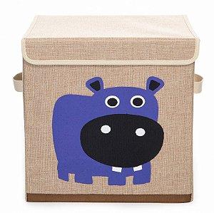 Caixa Organizadora Infantil Linha Bichos com Tampa - Hipopótamo