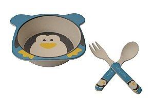 Kit Alimentação ECO Fibra de Bambu (03 Peças) Pinguim - Girotondo Baby