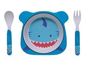 Kit Alimentação ECO Fibra de Bambu (03 Peças) Tubarão - Girotondo Baby