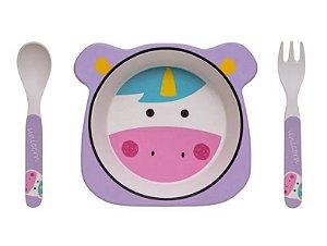 Kit Alimentação ECO Fibra de Bambu (03 Peças) Unicórnio - Girotondo Baby