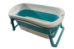 Banheira Dobrável Ofurô Luxo Grande Azul ( 10 meses à 80Kg ) - Kababy