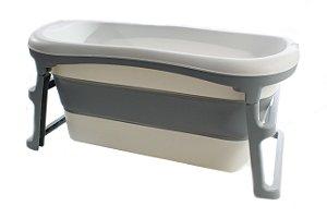 Banheira Dobrável Ofurô Luxo Grande Cinza ( 10 meses à 80Kg ) - Kababy