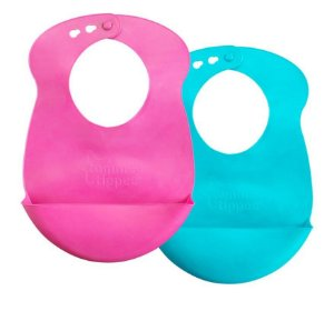 Babadores de Silicone Roll N' Go Rosa e Turquesa - Tommee Tippee