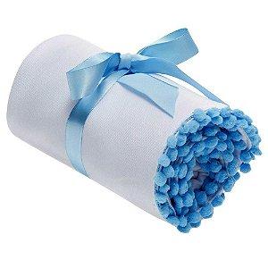 Manta para Bebê Moletom Extra Macia Bolinha - Azul