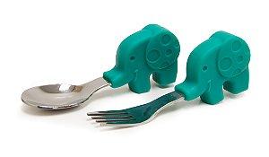 Colher e Garfo Infantil Elefante - Marcus & Marcus