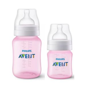 Kit Mamadeira Avent Clássica Anti-Cólica 125ml + 260ml Rosa - Philips Avent
