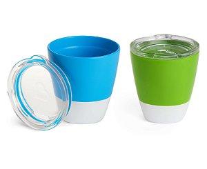Conjunto de Copos com Tampa Splash Azul e Verde - Munchkin