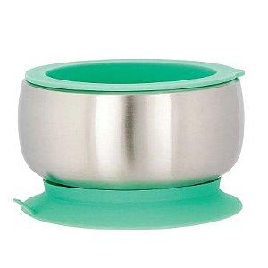 Tigela Infantil Aço Inoxidável com Ventosa e Tampa Verde - Avanchy