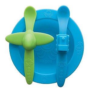 """Kit de Alimentação """"Olha o Aviãozinho"""" Azul e Verde - Oogaa"""
