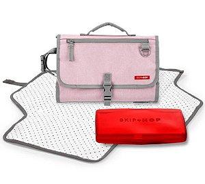 Trocador Portátil com Porta Lenço Listras Rosa - Skip Hop