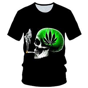 Camiseta masculina preta com estampa 3D