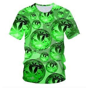 Camiseta masculina verde com estampa 3D