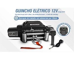 GUINCHO ELETRICO 12V IP68 12.000LBS CABO ACO 9.5MMX30M