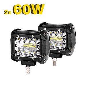 Farol de LED Auxiliar Milha 4 Pol 60w 20 LEDs 9 6000Lm - Par