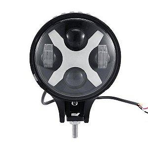 FAROL LED REDONDO 60W X COM DRL 6 POLEGADAS