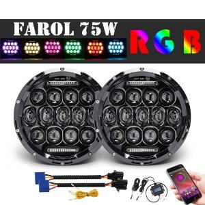 Farol Full Led 75w Novo Troller Rgb Bluetooth
