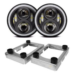 Kit Farol 7 Pol LED 60W Angel Eyes Seta DRL+ Suporte Troller