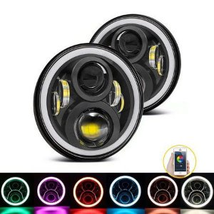 Farol 7 Pol LED 60W Angel Eyes DRL Milha RGB Bluetooth