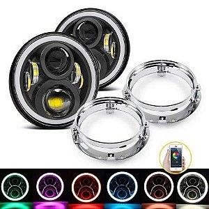 Farol de LED 7 Pol 60w Angel Eyes Colorido RGB Via Bluetooth Suporte Universal