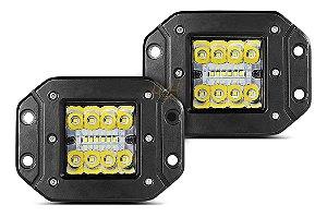 Farol de Embutir Milha LED 48w 12cm 16 LEDs Combo Flood + Spot 4320Lm - Par