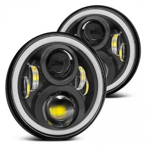 Par Farol Angel Eyes Full Led Nova Geração JEEP Wrangler / Land Defender