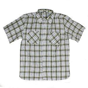 Camisa xadrez branca e verde